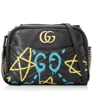 🔥🆕💖GUCCI Marmont Ghost Black Leather Camera Bag